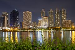 Cityscape night from Queen Sirikit National Convention Center, Bangkok, Thailand. Park business benjakitti modern view sky light water travel landscape royalty free stock photo
