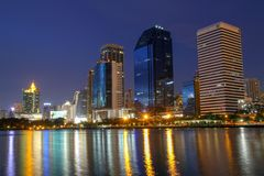 Cityscape night from Queen Sirikit National Convention Center, Bangkok, Thailand. Park business benjakitti modern view sky light water travel landscape stock photos