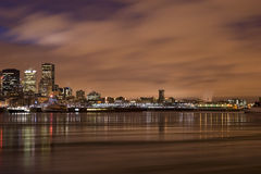 Cityscape night scene Montreal river royalty free stock photography