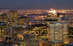 Cityscape night scene Montreal skyscraper building stock image