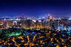 Cityscape at night in Seoul, South Korea.  stock photos