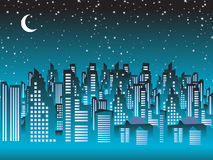 Cityscape night, silhouettes Stock Image