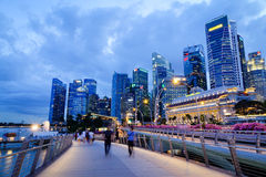 Cityscape at night in Singapore Royalty Free Stock Images