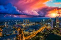 Cityscape at night of Singapore city Stock Photo
