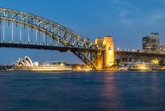 Night panorama of Sydney Harbour, Australia. royalty free stock images