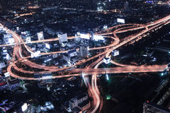 Cityscape night and traffic car lighting Stock Photo