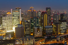 Cityscape at night of Umeda, Osaka, Japan. Stock Photography