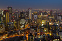 Cityscape at night of Umeda, Osaka, Japan. Stock Photo