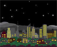 Cityscape Night Vector homes and skyscrapers Stock Photo