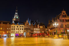 Cityscape of Nijmegen squre at dusk twilight Stock Image