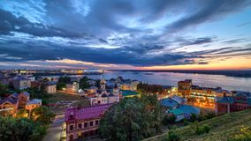 Cityscape of Nizhny Novgorod at sunset time. royalty free stock image