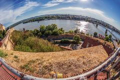 Cityscape in Novi Sad, Serbia. Old and new, seen from the Petrovaradin fortress height Stock Photo