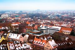 Cityscape of Nuremberg, Germany, in a winter day. Royalty Free Stock Photography