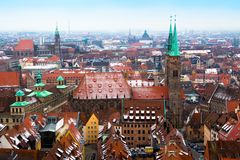 Cityscape of Nuremberg, Germany, in a winter day. Royalty Free Stock Images