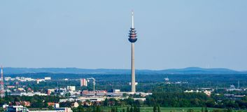 Cityscape Nuremberg panorama with TV tower in Bavaria, Germany royalty free stock images