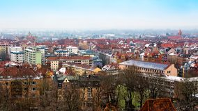 Cityscape of Nuremberg, Germany, in a winter day. Royalty Free Stock Photos