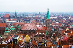 Cityscape of Nuremberg, Germany, in a winter day. Royalty Free Stock Image