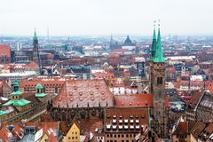 Cityscape of Nuremberg, Germany, in a winter day. Stock Photos
