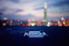 Cityscape. In the observation deck we see the city at night Royalty Free Stock Photos