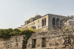 Cityscape och sikt från topkapislott i istanbul royaltyfri foto