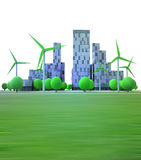 Cityscape with office buildings and wind turbines Stock Photo