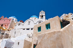Cityscape of Oia town on the island of Thera also known as Santorini, Greece. Royalty Free Stock Images