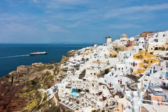 Cityscape of Oia village and Caldera view at morning, Santorini island Royalty Free Stock Image