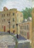Cityscape oil. Street of the old town on a sunny summer day Royalty Free Stock Photography