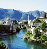 The cityscape with the old bridge, Mostar, Royalty Free Stock Photography