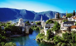 The cityscape with the old bridge, Mostar, Stock Images