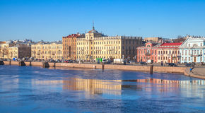 Cityscape with old buildings facades along Neva Royalty Free Stock Photography