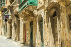 Cityscape with old doors in Valletta Stock Photography