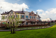 Cityscape of old european houses on canal Royalty Free Stock Photos