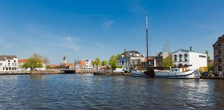 Cityscape of old historical Dutch city Delft Stock Photos