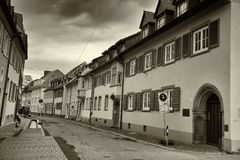 Cityscape of an old street at Freiburg im Breisgau Germany stock photos