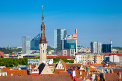 Cityscape of old Tallinn, old and modern buildings Royalty Free Stock Image