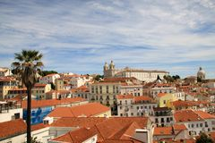 Cityscape of old town Alfama of Lisbon Cathedral and Pantheon Royalty Free Stock Photo