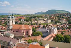Cityscape of the Old Town of Eger, Hungary, Church of Saint Anthony of Padua royalty free stock photos