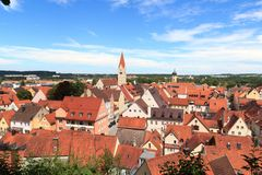 Cityscape of old town Kaufbeuren in Bavaria. Germany stock images