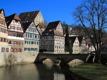 Old townhouses at river Royalty Free Stock Images