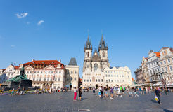 Cityscape of Old Town Square in Prague Stock Photography