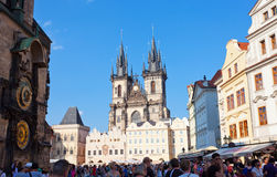 Cityscape of Old Town Square in Prague Stock Images