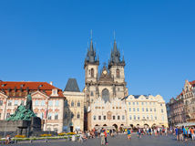 Cityscape of Old Town Square in Prague Royalty Free Stock Images