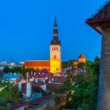 Cityscape of old town Tallinn at night, Estonia Royalty Free Stock Photos