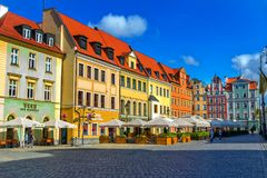 Cityscape of old town Wroclaw Market Square with colorful historical buildings Stock Image