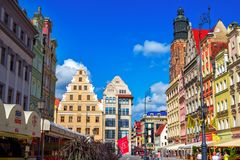 Cityscape of old town Wroclaw Market Square with colorful historical buildings Royalty Free Stock Images