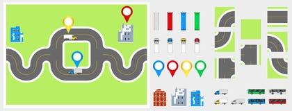 Cityscape Ontwerpelementen met weg, vervoer, gebouwen, navigatiespelden Wegenkaart Vectorillustratie eps 10 Mag voor v worden geb Royalty-vrije Stock Foto's