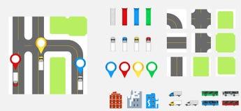 Cityscape Ontwerpelementen met weg, vervoer, gebouwen, navigatiespelden Wegenkaart Vectorillustratie eps 10 Mag voor v worden geb Stock Foto