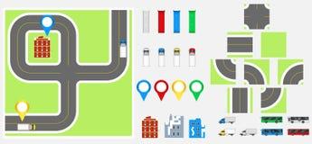 Cityscape Ontwerpelementen met weg, vervoer, gebouwen, navigatiespelden Wegenkaart Vectorillustratie eps 10 Mag voor v worden geb Royalty-vrije Stock Foto