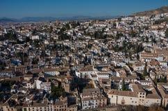cityscape Opinião do panorama da cidade velha de Granada da torre de Alham Imagem de Stock Royalty Free